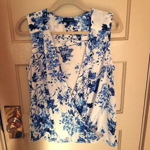 Blue and white floral blouse by The Limited